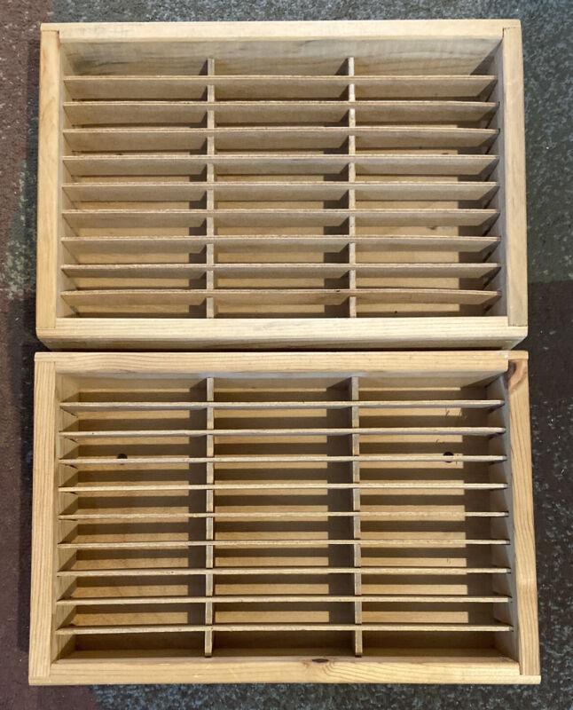 (2) Napa Valley 30 Slot Audio Cassette Tape Holder Shelf 15x10x3 Wooden Rack