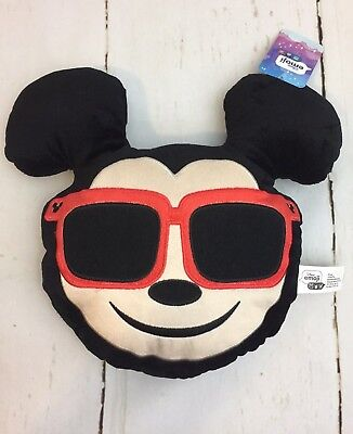 Disney Mickey Mouse Emoji Face Plush Pillow Red Sunglasses Cuddle Toy NWT