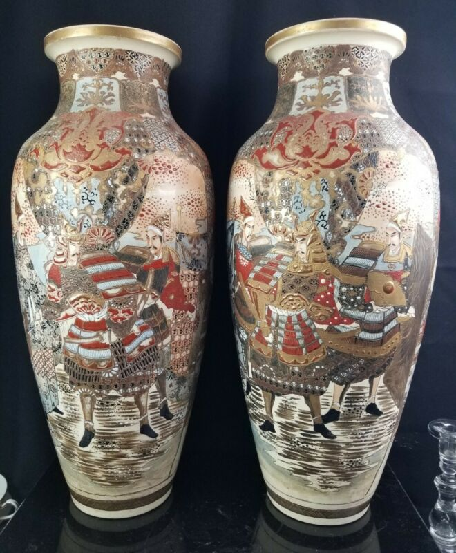"Massive Antique Pair Of Japanese Satsuma Porcelain Vases c1900 23"""