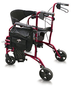 MEDLINE-Excel-Translator-2-IN-1-Transport-Chair-Wheelchair-Rollator-Combo-RED