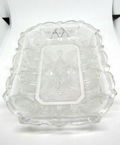 Antique Flint Pressed Boston Sandwich Glass Clear Relish Dish