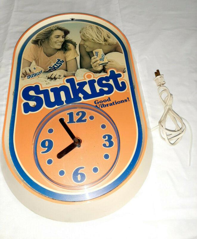 "Vintage Sunkist Good Vibrations Clock 12""x19"""