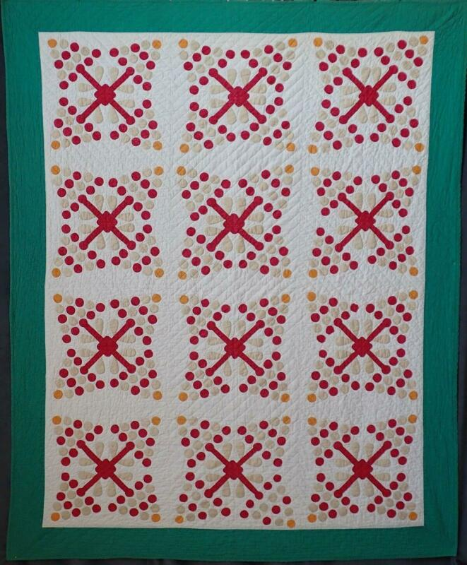 Antique Red Green Cheddar & Tan PINE TREE or CHERRIES Applique Quilt 82x67