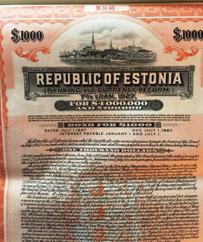 7% Republic of Estonia USD $1000 Bond to Bearer 1927 uncancelled + coupons
