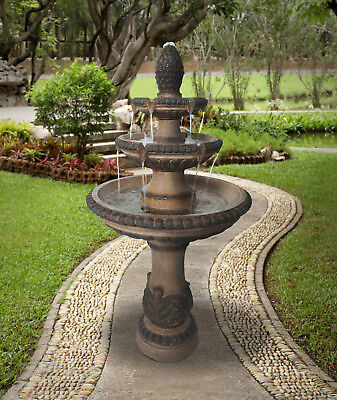 Outdoor Tiered Fountain Large Waterfall Cascade Stone Water Bird Bath  3 - Tier