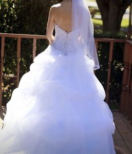 Strapless Beaded Wedding Dress and Vail