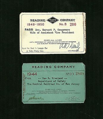 1944 and 1949 Reading Railroad Company Annual Year Pass Ticket PA