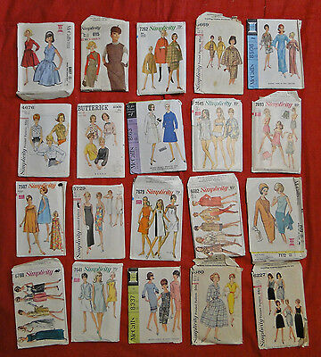 20 LOT VINTAGE 1960's SEWING PATTERNS MISSES 12 McCALLS SIMPLICITY BUTTERICK #1