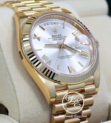 Rolex President Day-Date 228238 18K Yellow Gold Silver Roman Dial Watch BP *NEW