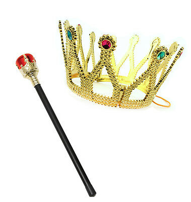 2pc Royal Queen Scepter & Jeweled Crown Set Renaissance Fair Costume Cosplay](Renaissance Crown)