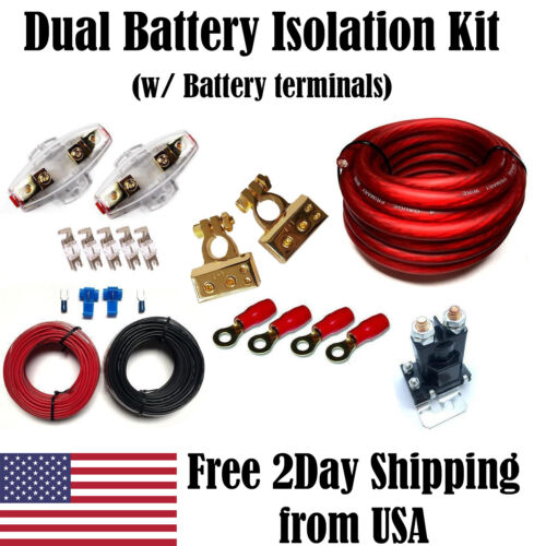 Dual Auxiliary Car Battery 12 V Charge Isolation Wiring Kit Auto Relay Isolator