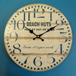 Nautical Theme Large Beach Huts 33 cm diameter Wall Clock , Shabby Chic