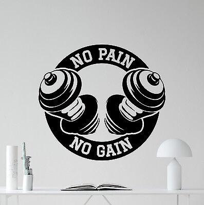No Pain No Gain Gym Wall Decal Sport Fitness Vinyl Sticker Art Decor Mural 19quo