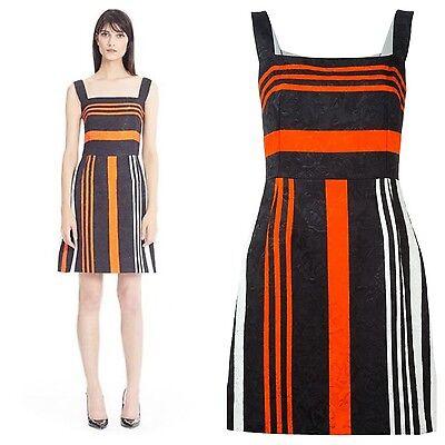 NWT SZ.12 $1,895 DOLCE & GABBANA Striped Brocade DRESS SZ 46 IT