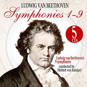 CD 5 Beethoven Symphonies 1-9 Karajan Herbert Von Box
