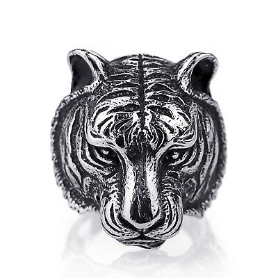Mens Stainless Steel Tigers - Mens Boys Tiger Silver 316L Stainless Steel Biker Ring Fashion Animal Jewelry
