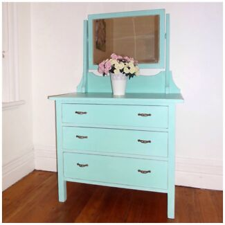 Vintage beautiful aqua beach dresser chest of drawers dressing table  Cremorne North Sydney Area Preview