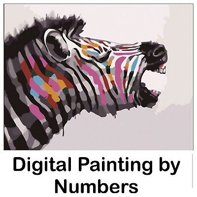 "20x16"" Digital Paint By Number Kit. Fabric Canvas & 15 Colours. Art Picture Gift"