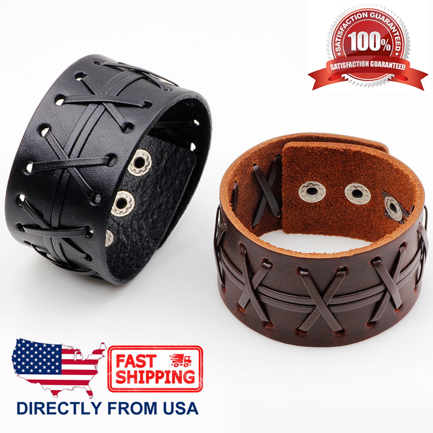 Men's Punk Rock X Patten Genuine Leather Cuff Wristband Bracelet Bracelets