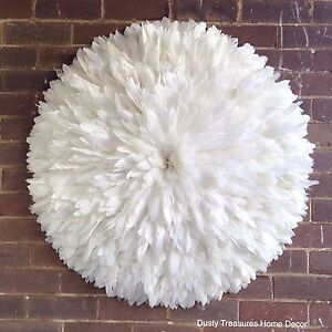 PRE-ORDER 95cm diameter white feathers juju hat wall decoration Cremorne Point North Sydney Area Preview