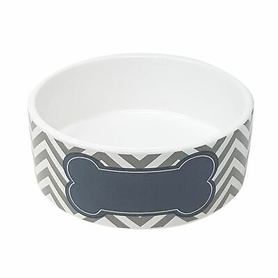 BONE TIE CHEVRON SILVER GREY HARD DOLOMITE CERAMIC PET DOG WATER FOOD BOWLS