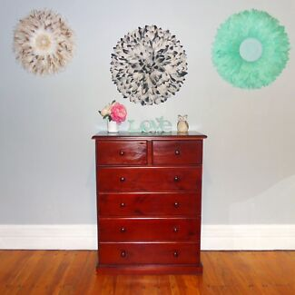 Solid wood chest of drawers dresser tallboy