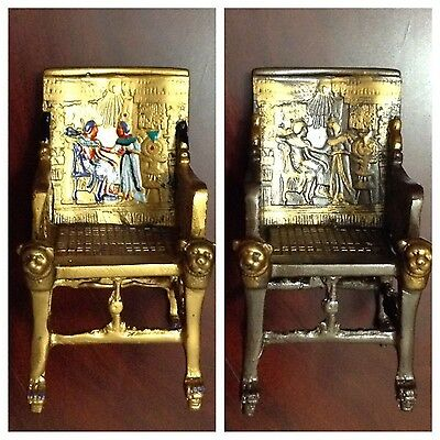 King Tut Egyptian Throne Chair.Dark Oxidized Bronze & Gold, Made in egypt
