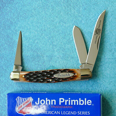 "JOHN PRIMBLE 3-Blade Stockman Knife NEW Jigged Bone Leather Punch 4"" Folder Box"