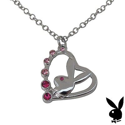 Playboy Necklace Bunny Heart Pendant Pink Swarovski Crystal Silver Plated Chain