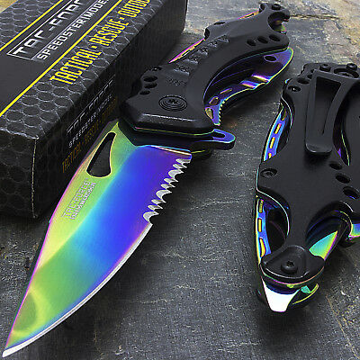 "8"" TAC FORCE RAINBOW SPRING ASSISTED TACTICAL FOLDING KNIFE Blade Open Pocket"