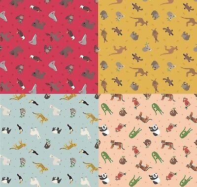 Small Things World Animals - Lewis & Irene 100% Cotton Fabric Fat Quarter/Metre