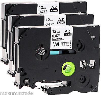 3x Schriftbandkassette kompatibel für Brother TZe-231 12mm schwarz auf weiß