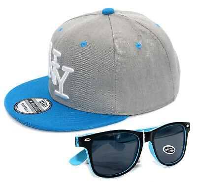 SET Cappy + Sonnenbrille Kinder Junge Jungs Kappe Snapback Cap NY Grau Türkis