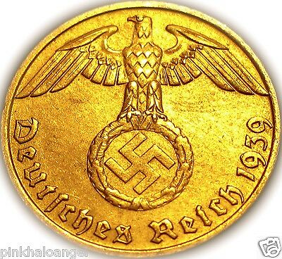 German 3rd Reich Reichspfennig Coin with Swastika Nazi Germany WW 2 Rare Coin