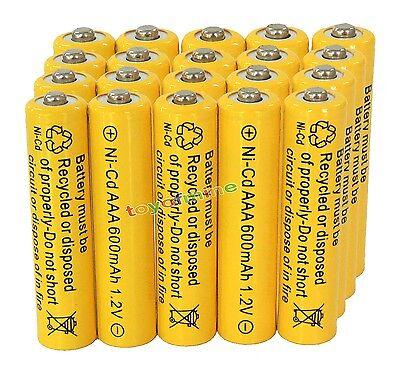 20AAA Rechargeable Batteries NiCd 600mAh 1.2v Garden Solar Ni-mh Light Nimh Lamp