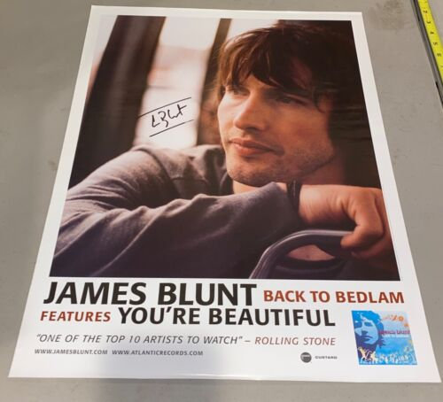 James Blunt PROMO ONLY Poster Back To Bedlam SIGNED AUTOGRAPHED RARE 24X18