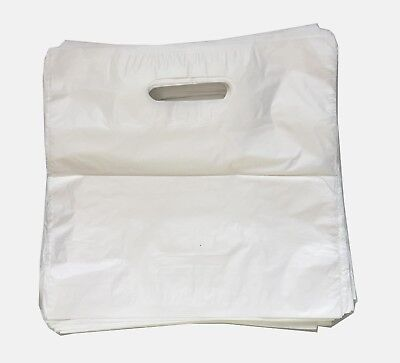 100 Strong Plain White Patch Handle Plastic Carrier Bags 22