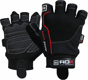 Auth-RDX-Gel-Weight-lifting-body-building-gloves-Gym-Straps-Bar-Training-Leather