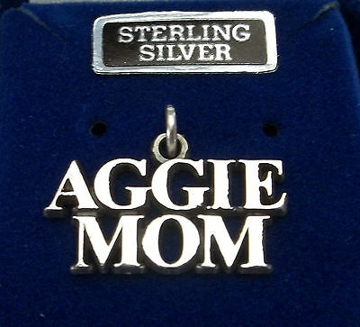 Sterling Silver 13x21mm Atm Texas A&m University Says Aggie Mom Word Charm