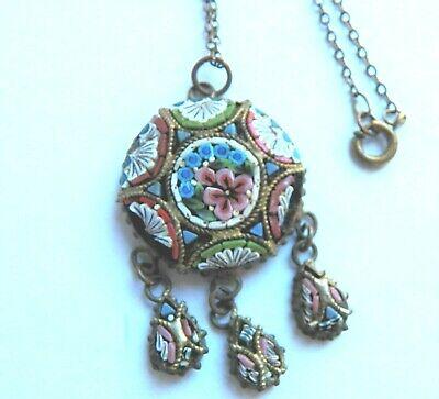 Antique Italian Brass Micro Mosaic Pendant Necklace - OLD !!!