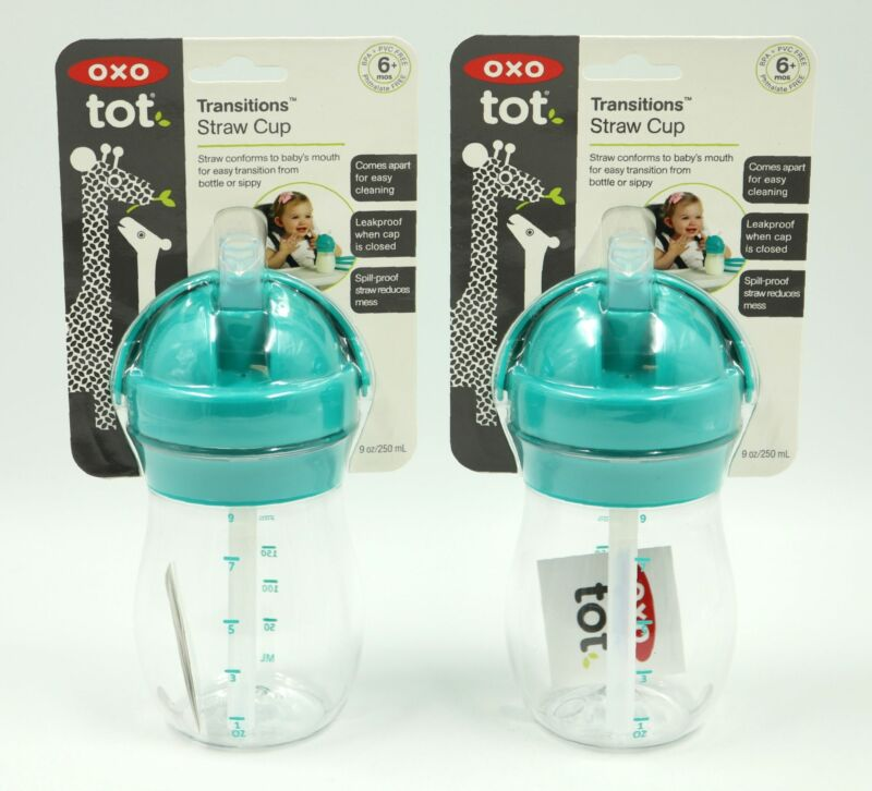 OXO Tot Transitions Straw Cup Teal 9 oz Pack of 2