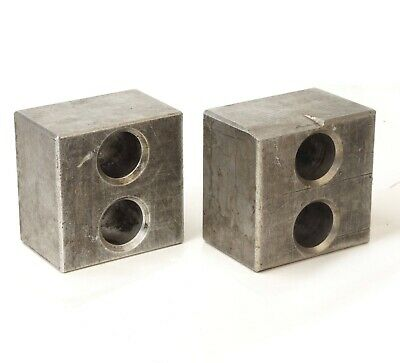 Pair Cast Aluminum Precision Machinist Set Up Parallel Blocks 6x6x4 2 Hole