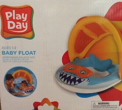 PLAY DAY Shark BABY FLOAT With Sun Canopy ~ Inflatable Swimming Infant Toddler