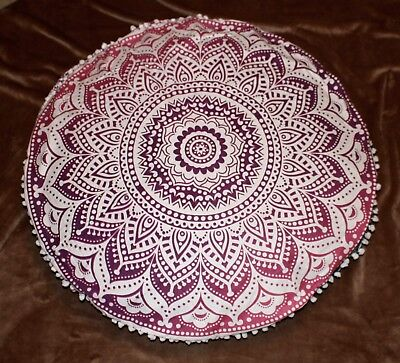Mandala Floor Cushion Pink & Purple Round Bohemian Boho Hippie Pillow Case Cover