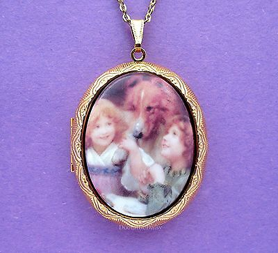 Porcelain SISTERS Best Friends & COLLIE DOG CAMEO GT Locket Pendant Necklace