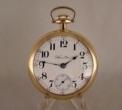 "113 YEARS OLD HAMILTON ""936"" 17j 14k GOLD FILLED OPEN FACE 18s RR POCKET WATCH"