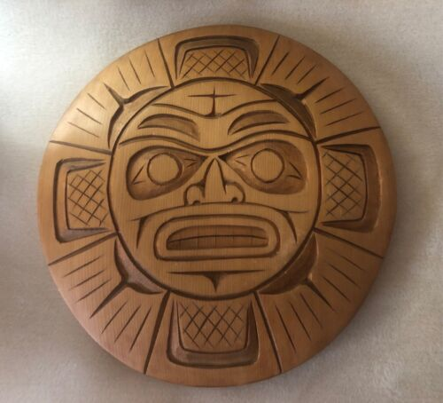 Northwest Coast Carved Cedar Sun Effigy Mask Plaque Signed Art Charlie