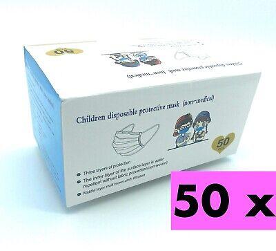 50x Masken Kinder-Mund-Nasen-Schutz 3-lagig Mundschutz Gesichtsmaske Blau O P