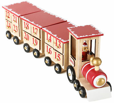 BRUBAKER Advent Calendar Wooden Christmas Train - Red/Green - Natural Colors - Advent Colors