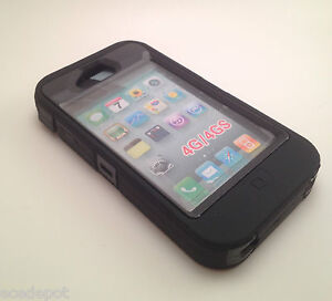 Black & Black Armored 3-Piece Cover Case for iPhone 4 4S with Screen Protector
